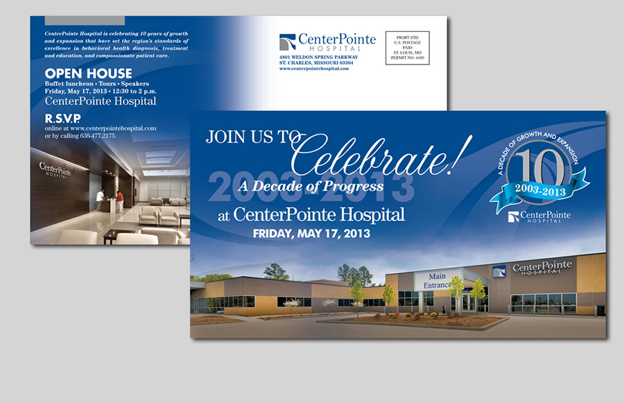 Purviance and company marketing communications portfolio centerpointe hospital ten year anniversary celebration invitation and logo stopboris Image collections